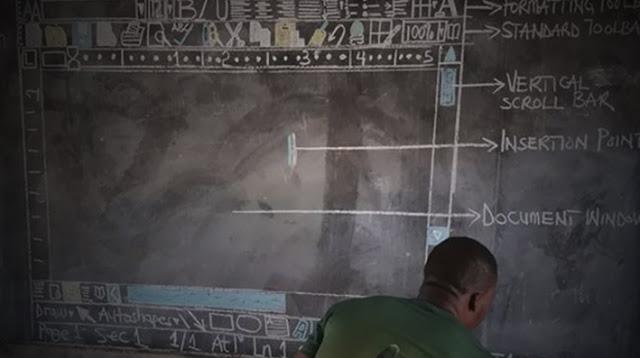 Un profesor en África no necesita computadoras para enseñar 'Word', sólo una pizarra, tiza y ganas de cambiar el mundo