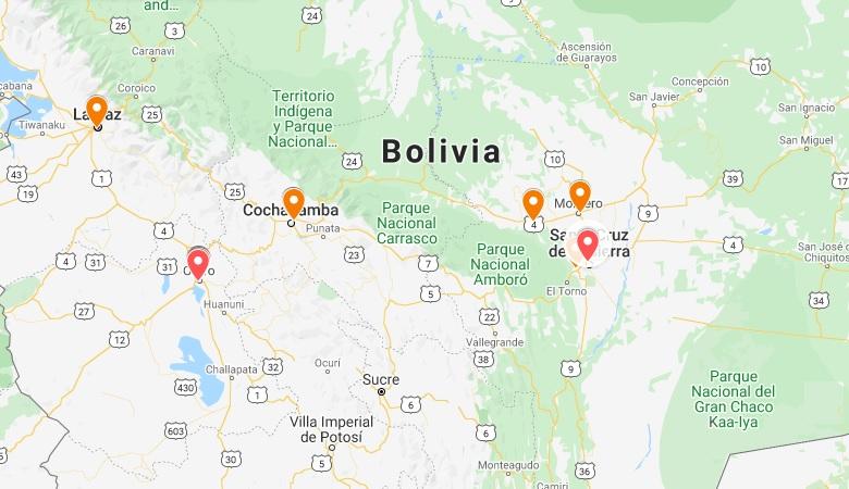 Coronavirus: Mapa de casos confirmados en Bolivia