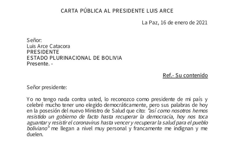 """Ciudadana cuyo papá está enfermo con Covid solicita a Arce pedir disculpas por su frase: """"aguanten el coronavirus"""""""