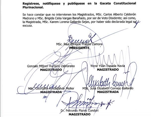 Vea la sentencia constitucional que el presidente del TCP dice que no existe